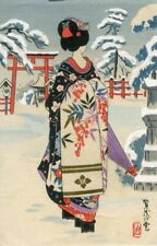 "Japanese Woodblock print "" Kyoto Sights,Snow at Kamo Shrine,Geisha '' #010"