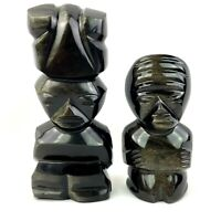 2 Hand Carved Mayan Aztec Statues Figures Obsidian Stone for Positive Energy