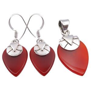 Earrings And Pendant Set In Silver 925 Silver Teardrop Red CARNELIAN Big Stone