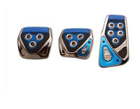 3x blue No-drilling universal manual pedal Non-Slip FootPedal Pad Covers For BMW