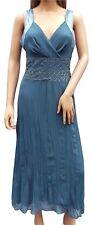 B Young Denim Blue Chiffon Embroidered Smocked Boho Hippy Maxi Long Dress UK M