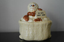 Peanut Bag Ceramic Candy Dish Covered (I'm Nuts about Candy) Trinket Box RARE