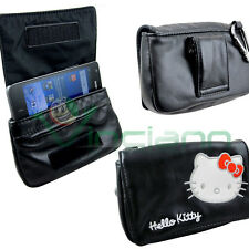 Custodia NERA borsa originale HELLO KITTY cintura per Samsung Galaxy S2 i9100