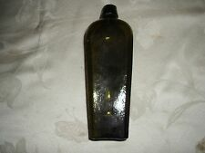 "ANTIQUE GREEN RIBBED BLOB TOPPED GIN BOTTLE 9.5"" TALL #3"