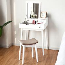 Coiffeuse Table de Maquillage avec Miroir Rabattable et abouret Boîte de Rangeme