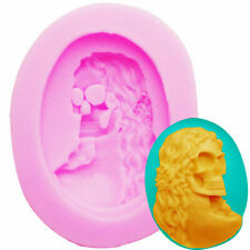 Silicone Mold Gothic Lady Skull 40x30mm Cameo Halloween Resin Diy Jewelry #D4