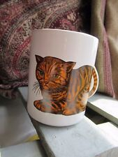 Vintage Cat Tail Mug Ginger and black Tabby.  Vintage Retro Tea Coffee
