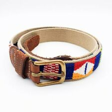 A Tail We Could Wag Patchwork Colorful Belt Mens 40 Waist Woven and Leather