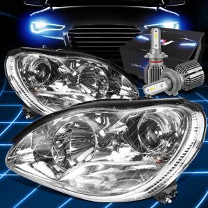 Fit 2000-2006 Mercedes Benz S430 Projector Headlight W/LED Kit+Cool Fan Chrome