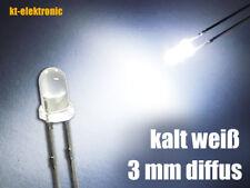 10 Stück LED 3mm kalt weiß diffus superhell