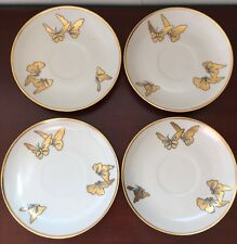 Vintage Paul Muller Selb Bavaria Gold Gilt Butterflies Porcelain Saucer Plates 2