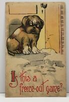 """Dog on Step """"Is this a Freeze-Out Game"""" 1915 Toledo - Waterville OH Postcard G16"""