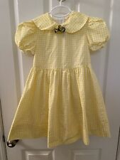 Vintage Storybook Heirlooms Gingham Dress Yellow Floral Pin USA Girls Size 6X