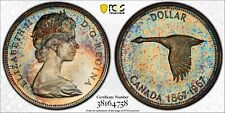 1967 CANADA GOOSE SILVER DOLLAR PCGS PL65 RAINBOW TONED UNC MONSTER COLOR (DR)
