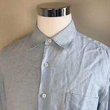 J.CREW Men's 100% Linen Solid Light Blue Long Sleeve Shirt L Large