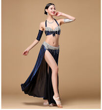 Belly Dance Costume Outfit Set Bra Top Belt Arm Skirt Dress Bollywood 4PCS