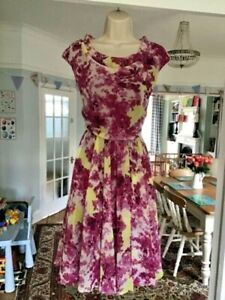 BNWT Size 14 DICKENS & JONES Betty Pink Floral Chiffon Tea Occasion Dress £125 *