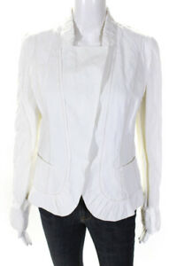 Elie Tahari  Womens Fitted Blazer White Pleated Trim Size Small