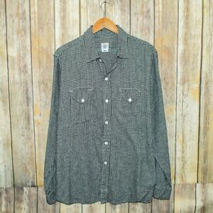POST O'ALLS Men's Button up Flannel Shirt Black White Houndstooth Size XL