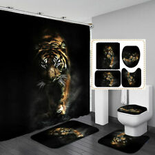 Tiger Bath Mat Toilet Cover Rugs Shower Curtain Black Bathroom Decor
