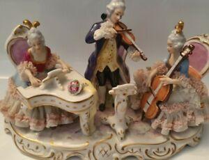 Antique large vintage Volkstedt Dresden Porcelain figurine Group of Musicians