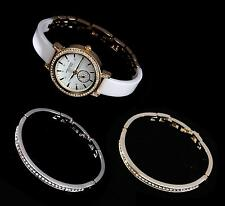 Anne Klein Womens White Ceramic Crystal Gold Bracelet Silver Watch 12/2248WTST