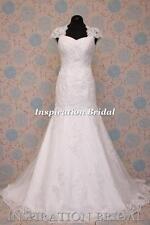 1598 White Ivory wedding dress Queen Anne neckline keyhole back 2102 UK any size