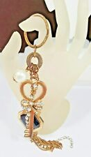 GoldTone Key Chain Key Ring Faux Pearl Black Bead Dangle Unique Style #3610