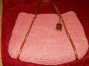 LAUREN RALPH LAUREN   Large Tote Bag Woven Pink Brown Leather Trim Preowned