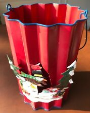 Christmas Red metal candle lantern w/ handle snowman winter scene w/ red candle