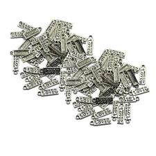 """100Pcs Antiqued Silver """"Made With Love"""" Heart Charms Pendants DIY 5x18mm"""