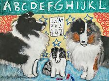 Shetland Sheepdog Home School 13x19 Dog Pop Art Print Collectible Ksams Sheltie