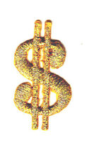 Dollar Sign Gold MetaLlic Small Gambling Iron On Embroidered Patch