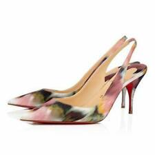 Christian Louboutin CLARE SLING Crepe Satin Impressionist Sandal Heel Shoes $745