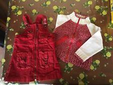 Completo Chicco bimba 24 mesi 92 cm salopette rossa con giacca coordinata
