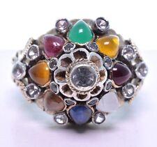 Vintage 14k Yellow Gold Multi Gemstone Siam Princess Thai Harem Dome Ring Sz 7
