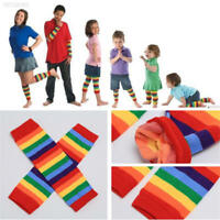 3015 Baby Kids Boy Girl Winter Leg Warmer Tights Cotton Rainbow Stripes Socks