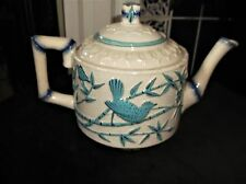 ANTIQUE TEAPOT WITH BLUE BAMBOO HANDLE & SPOUT RAISED AQUA BIRD & BUTTERFLY 2911