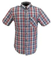 Ben Sherman Mens Red/Grey Check Short Sleeved 100% Cotton Shirts