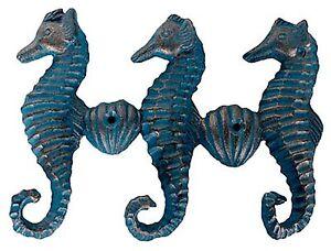 Jewelry Key nautical Verdigris Patina Triple Seahorse Multi Hook Beach Ocean