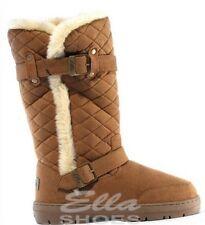 Womens Girls Ella Wide Calf Quilted Biker Fur Lined Warm Flat Winter Snug Boots