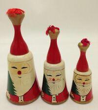 Set of 3 Vintage Wooden Santa Christmas Wood Bells