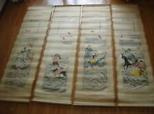 """Chinese 100% hand painting 4 scrolls""""Eight Immortals""""By Zhang Daqian 张大千"""