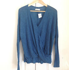 Abercrombie & Fitch Wrap Top M Vintage Blue Thin Knit Long Sleeves Light New