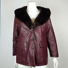 Catherines Womens Coat Faux Fur Collar Fuax Leather Burgundy Plus Size 0X