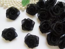 "1 "" Black Organza Ribbon Flowers Roses Appliques-Lots 50 Pcs (R0082B)"