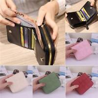 Womens PU Leather Small Mini Wallet Card Holder Zip Coin Purse Clutch Handbag D