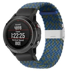 Quick Fit Braided Nylon Watch Band Strap For Garmin Fenix 5 5X Plus 6 6X Pro 935