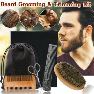 6Pcs/Set Beard Grooming & Trimming Kit Brush Comb Scissors Styling Mustache Care