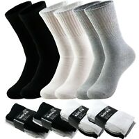 3 6 9 12 Pairs Men's Sport Athletic Work Cotton Crew Solid Socks Size 9-11 10-13